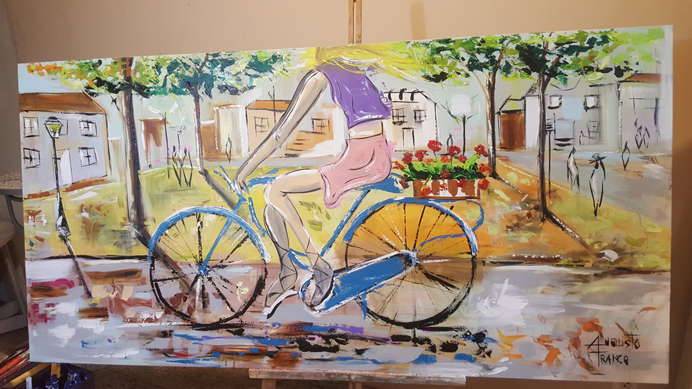 Child on a bike 180x90cm